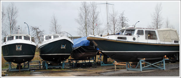 In winter storage: from left too right: Simmerskip 950 OK*cruise, Multivlet 1100 AK, Gillissenvlet 950 AK/OK
